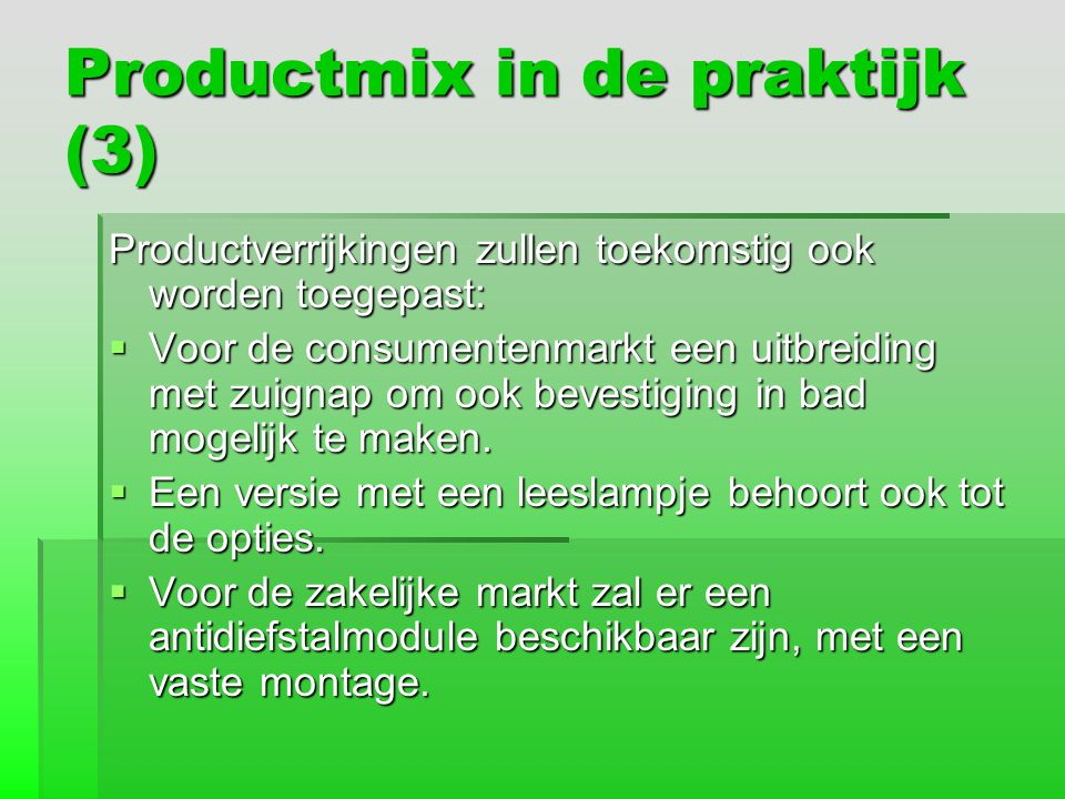 Productmix in de praktijk (3)