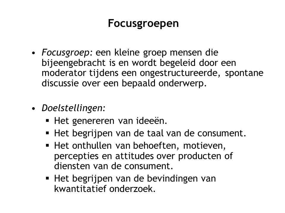 Focusgroepen