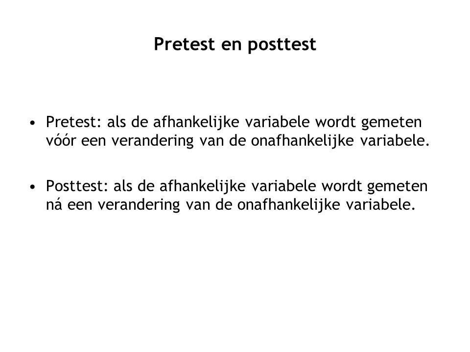 Pretest en posttest Pretest: als de afhankelijke variabele wordt gemeten vóór een verandering van de onafhankelijke variabele.