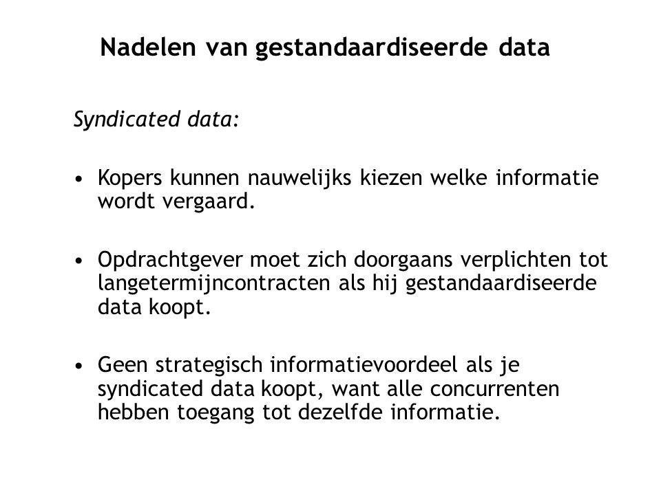 Nadelen van gestandaardiseerde data