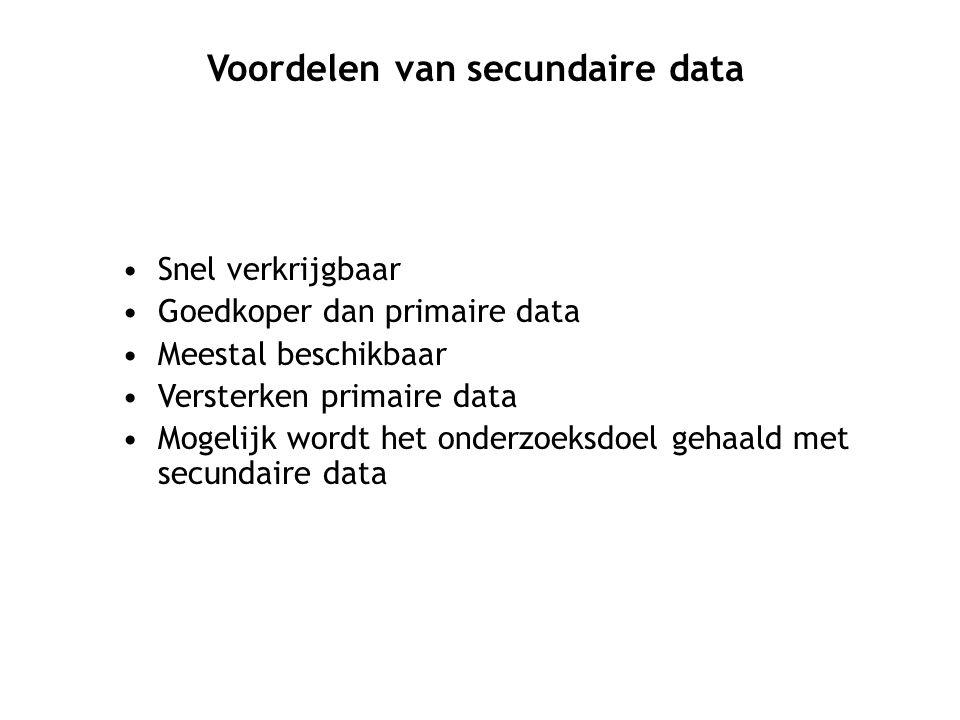 Voordelen van secundaire data