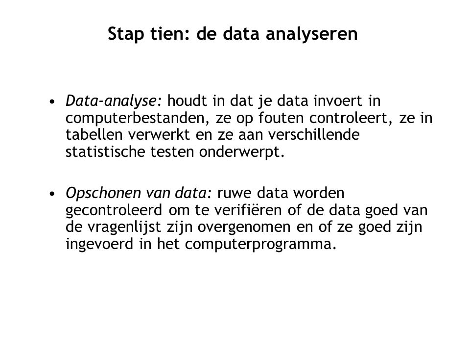 Stap tien: de data analyseren