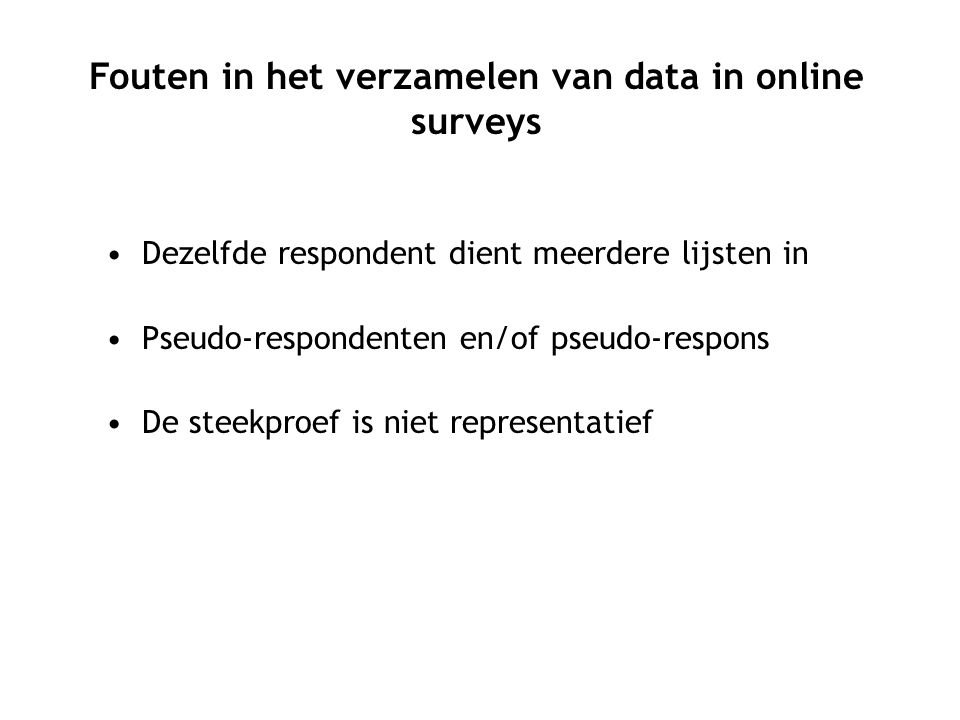 Fouten in het verzamelen van data in online surveys