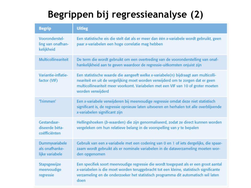 Begrippen bij regressieanalyse (2)