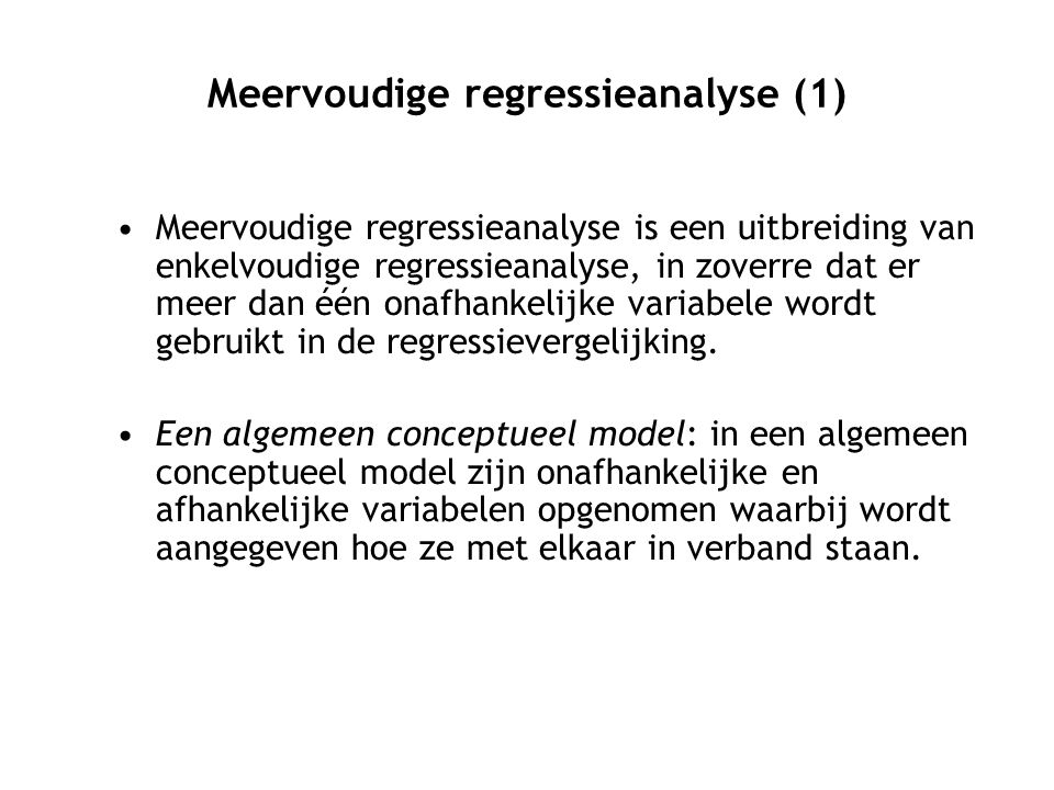 Meervoudige regressieanalyse (1)