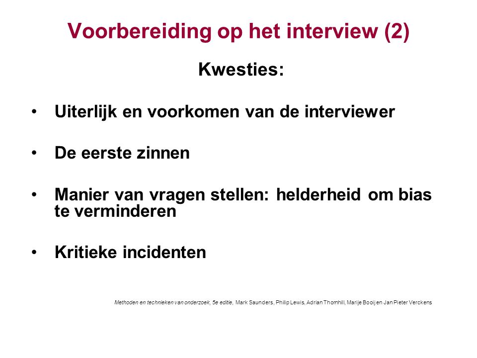 Voorbereiding op het interview (2)