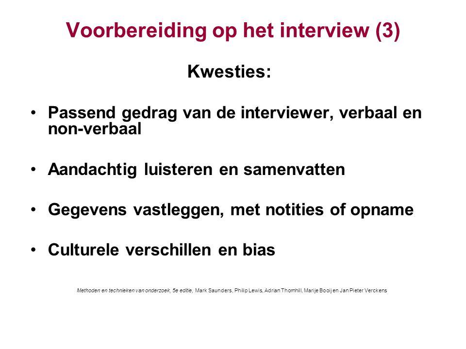 Voorbereiding op het interview (3)