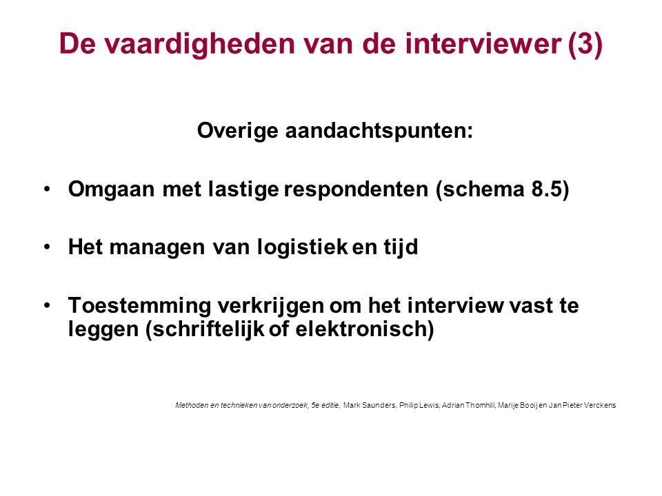 De vaardigheden van de interviewer (3)
