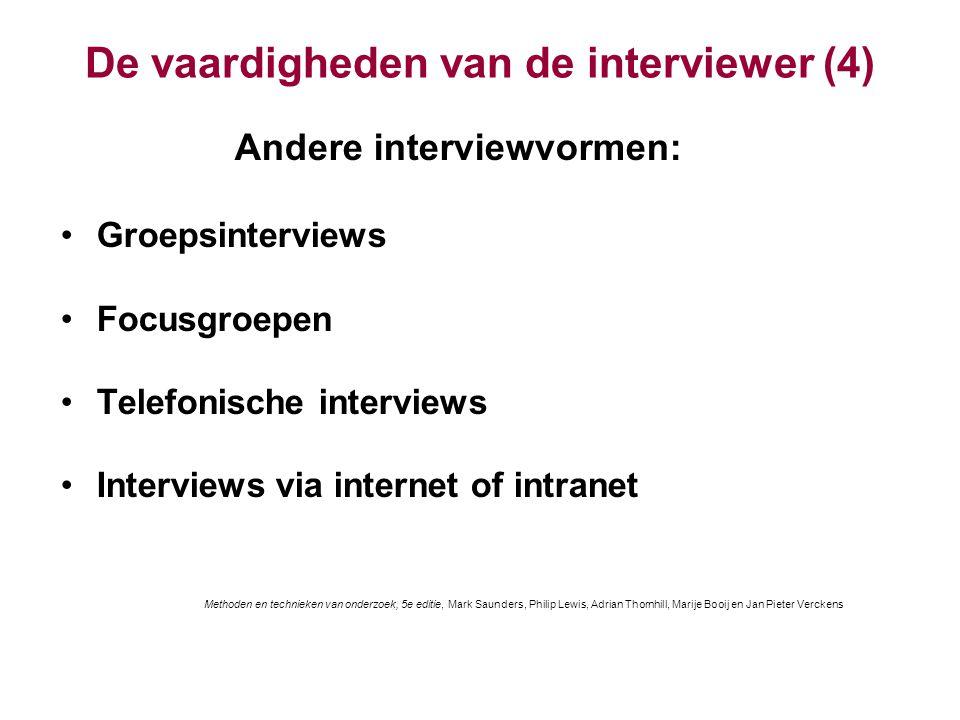 De vaardigheden van de interviewer (4)
