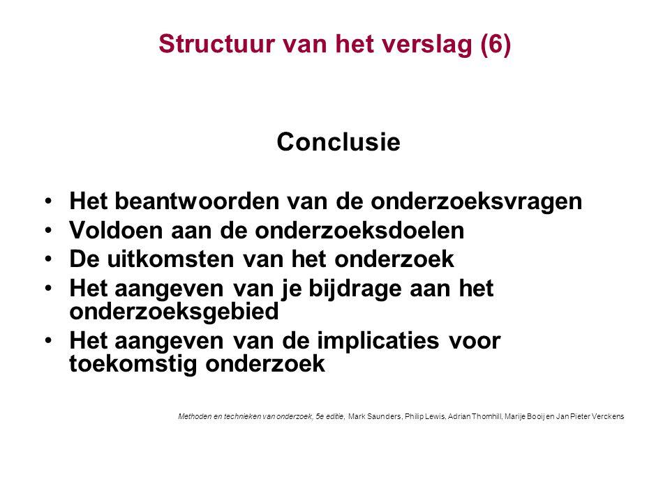 Structuur van het verslag (6)