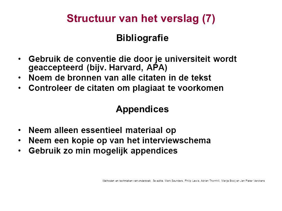 Structuur van het verslag (7)