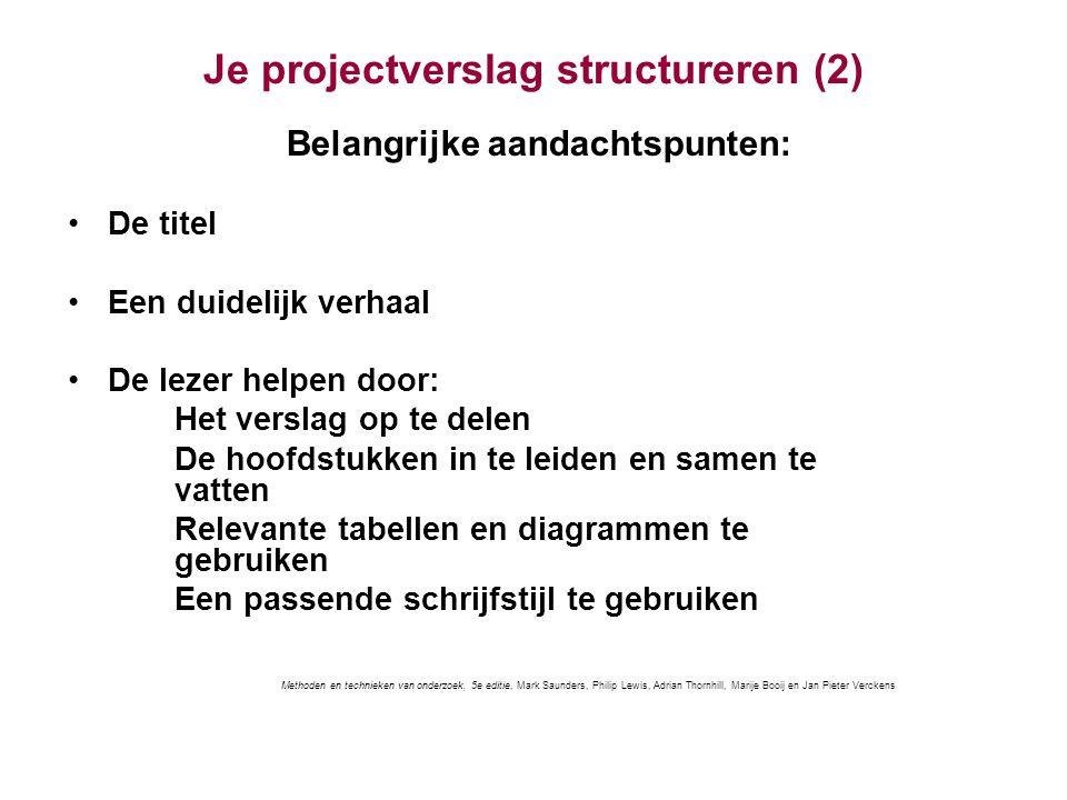 Je projectverslag structureren (2)