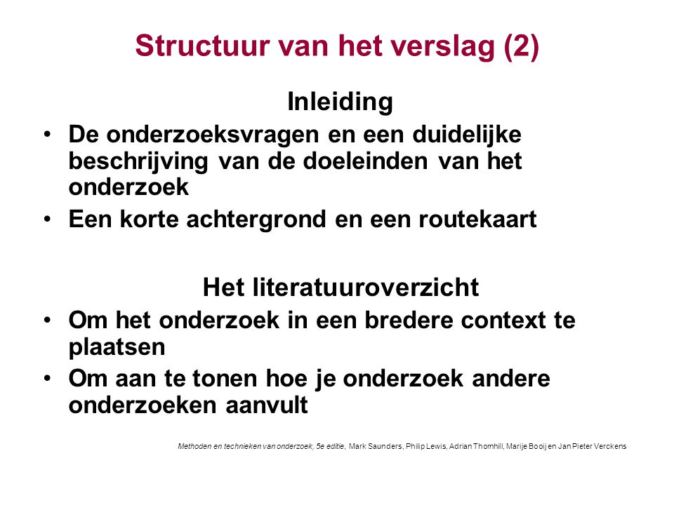 Structuur van het verslag (2)