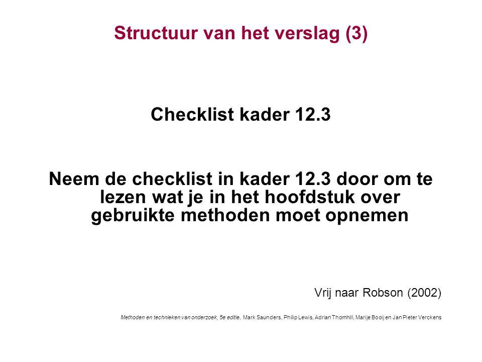 Structuur van het verslag (3)