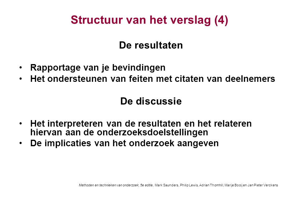 Structuur van het verslag (4)