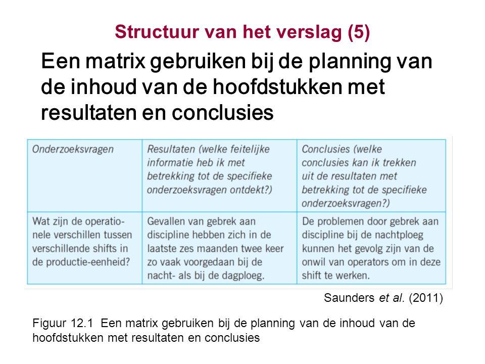 Structuur van het verslag (5)