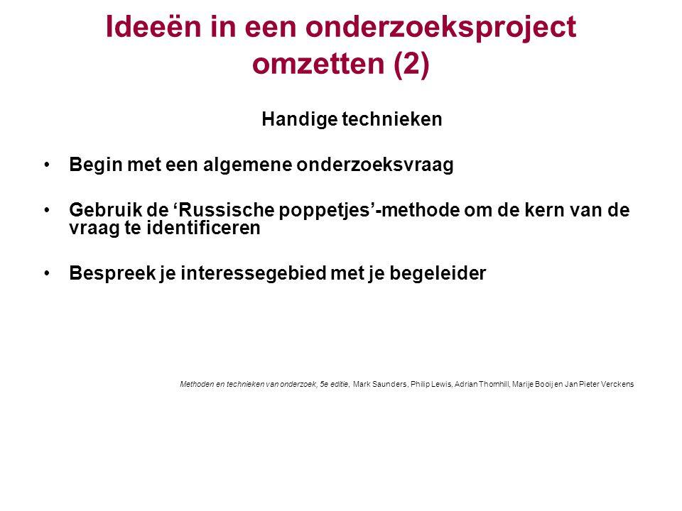 Ideeën in een onderzoeksproject omzetten (2)