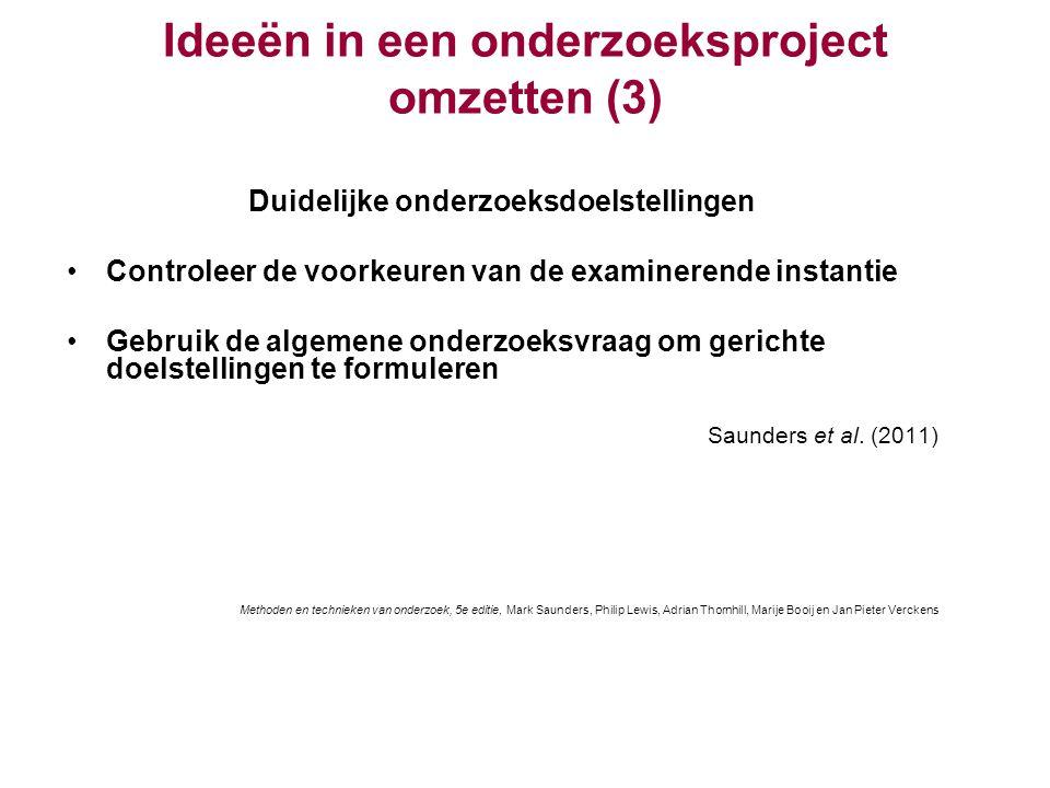 Ideeën in een onderzoeksproject omzetten (3)