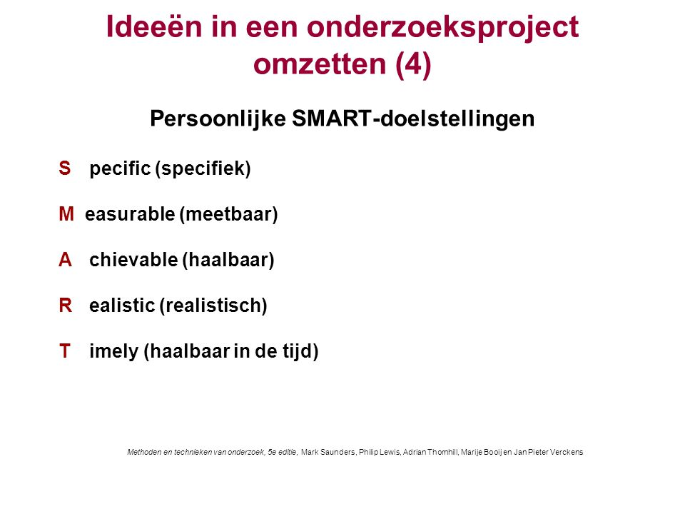 Ideeën in een onderzoeksproject omzetten (4)