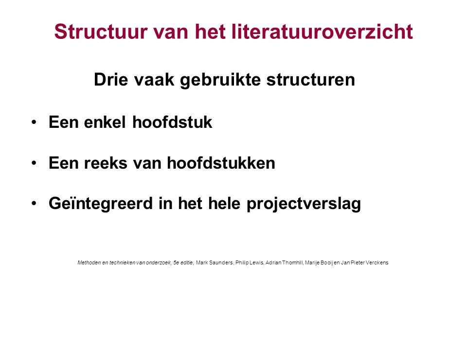Structuur van het literatuuroverzicht