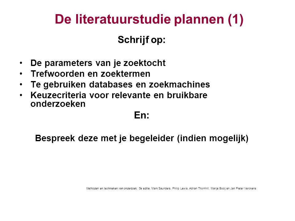 De literatuurstudie plannen (1)