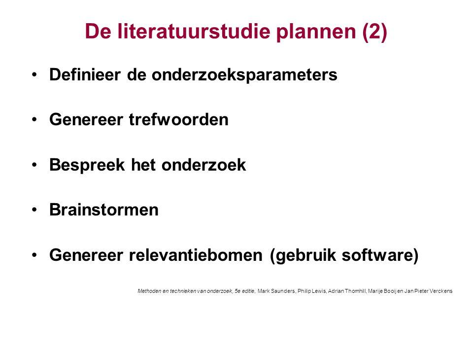 De literatuurstudie plannen (2)