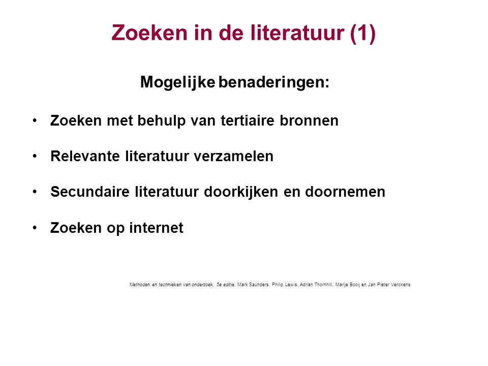 Zoeken in de literatuur (1)