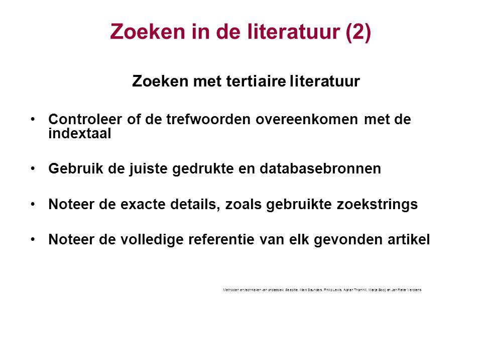 Zoeken in de literatuur (2)