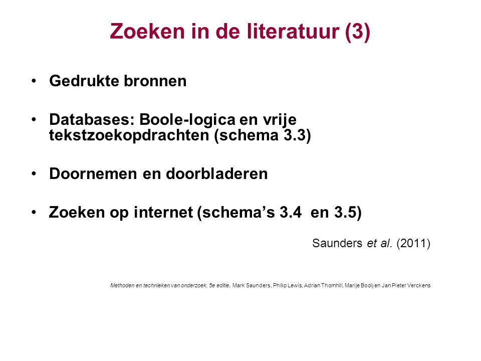 Zoeken in de literatuur (3)