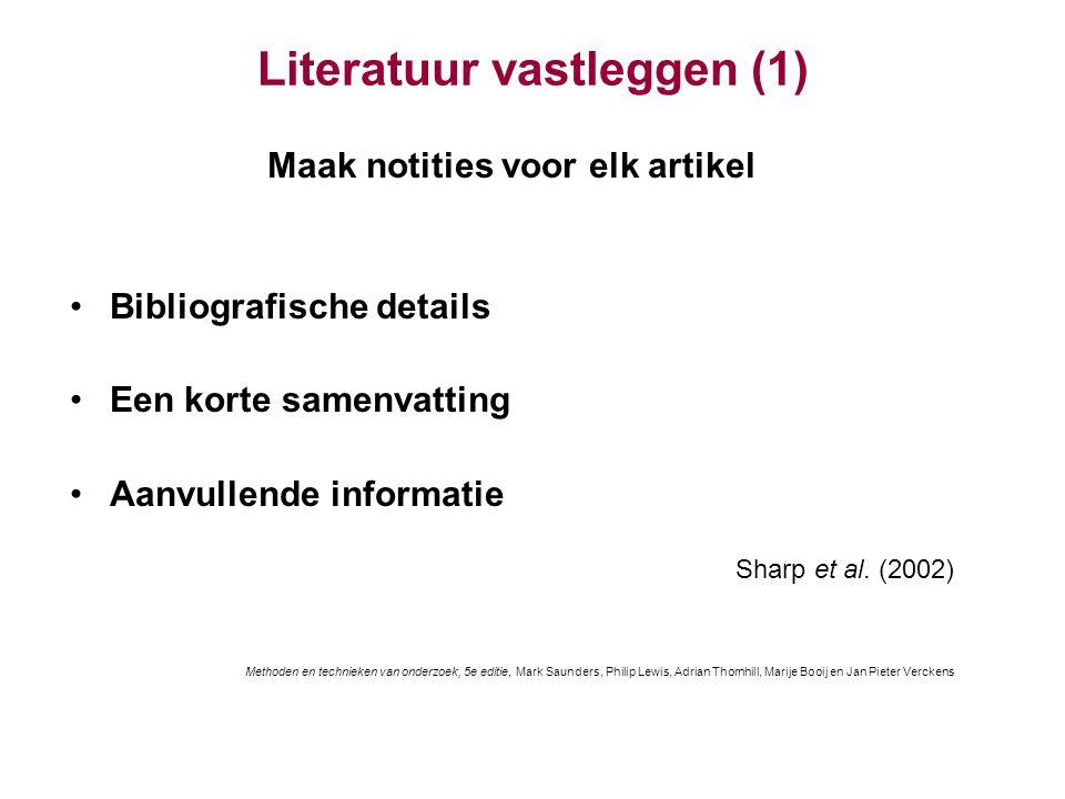 Literatuur vastleggen (1)