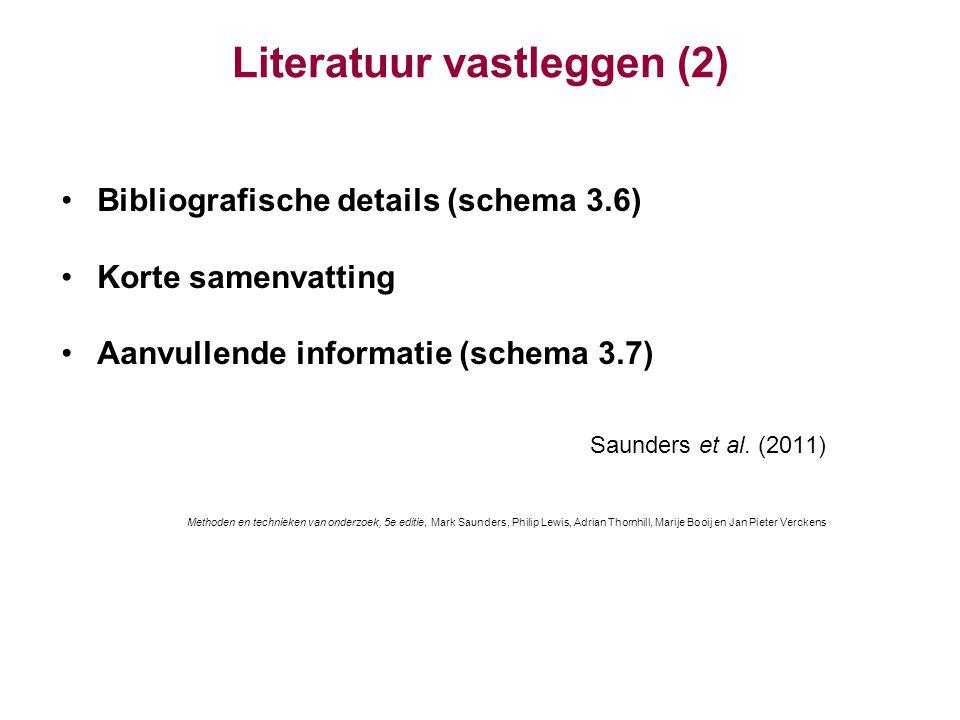 Literatuur vastleggen (2)