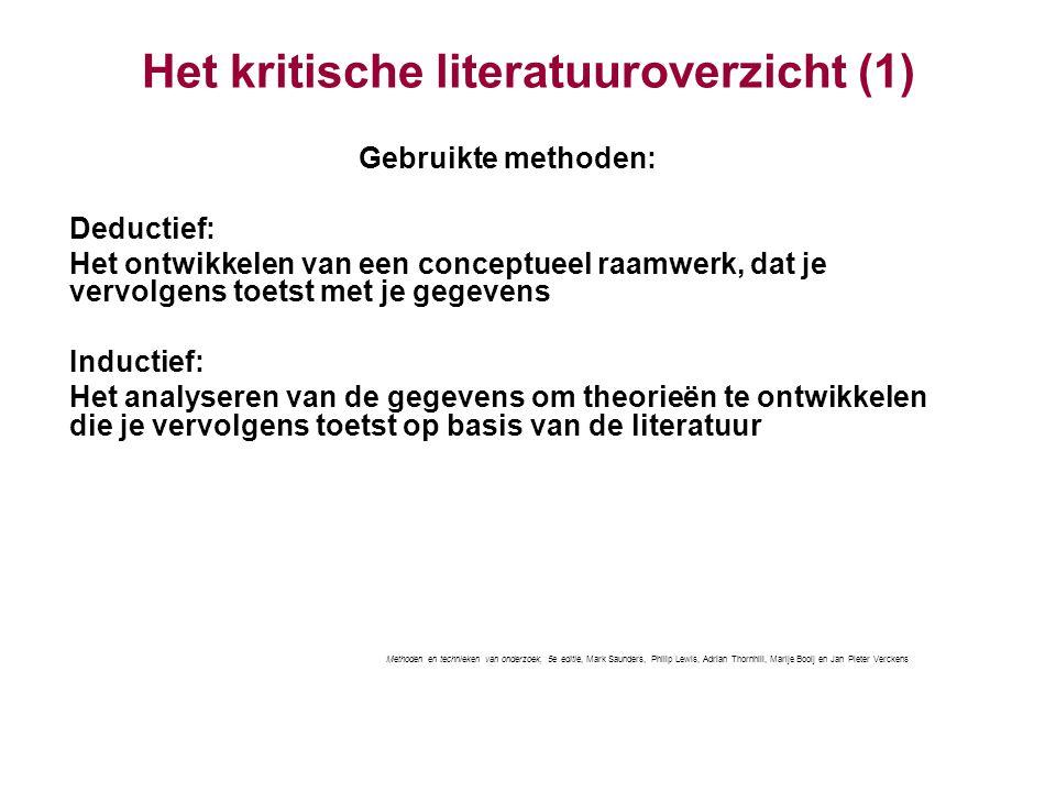 Het kritische literatuuroverzicht (1)