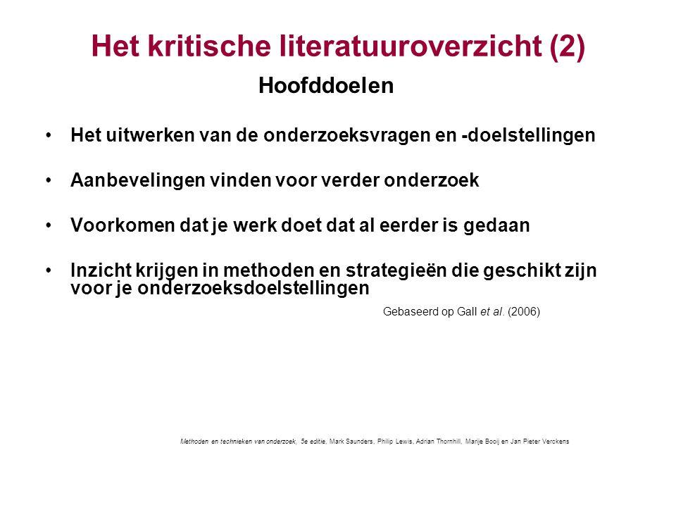 Het kritische literatuuroverzicht (2)