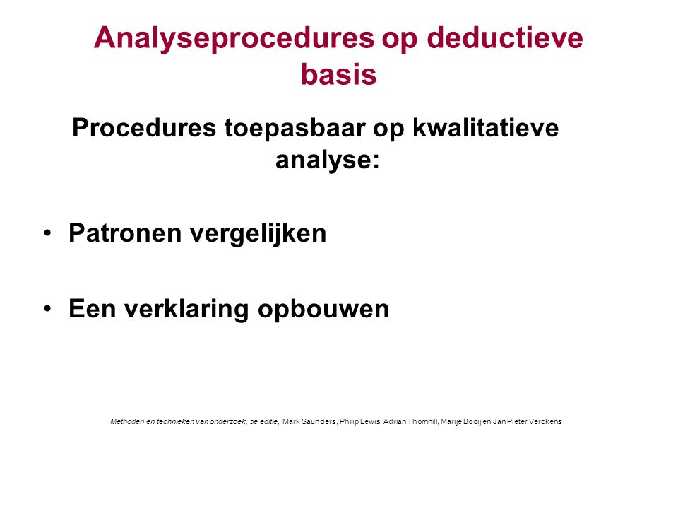Analyseprocedures op deductieve basis