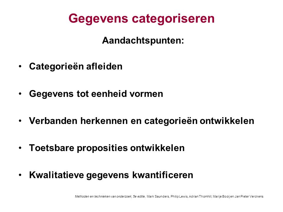 Gegevens categoriseren
