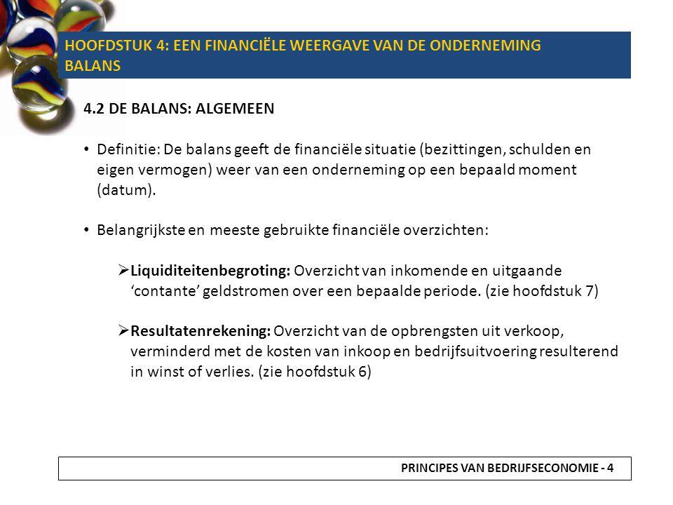 HOOFDSTUK 4: EEN FINANCIËLE WEERGAVE VAN DE ONDERNEMING BALANS
