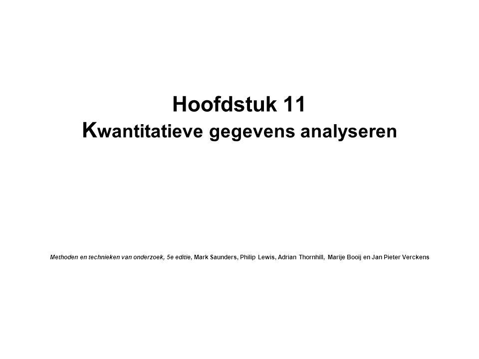 Hoofdstuk 11 Kwantitatieve gegevens analyseren Methoden en technieken van onderzoek, 5e editie, Mark Saunders, Philip Lewis, Adrian Thornhill, Marije Booij en Jan Pieter Verckens