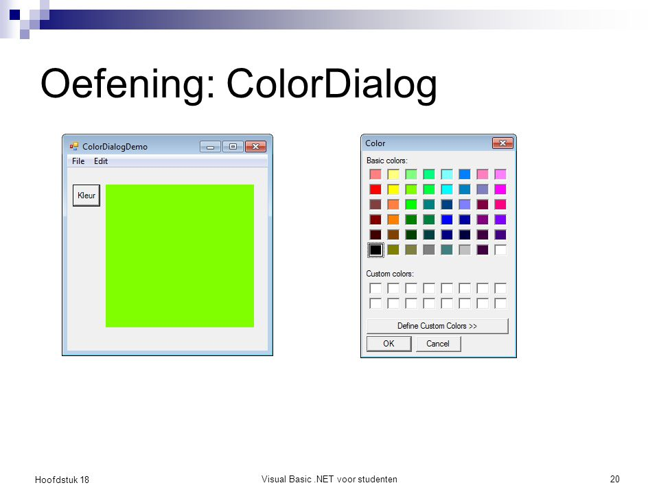 Oefening: ColorDialog