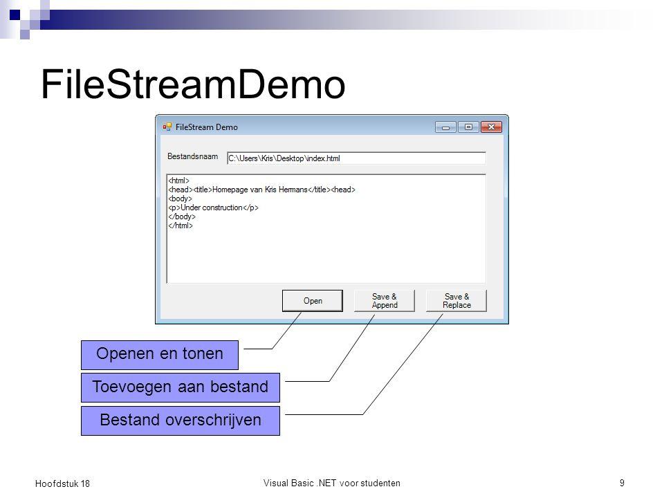 FileStreamDemo Openen en tonen Toevoegen aan bestand