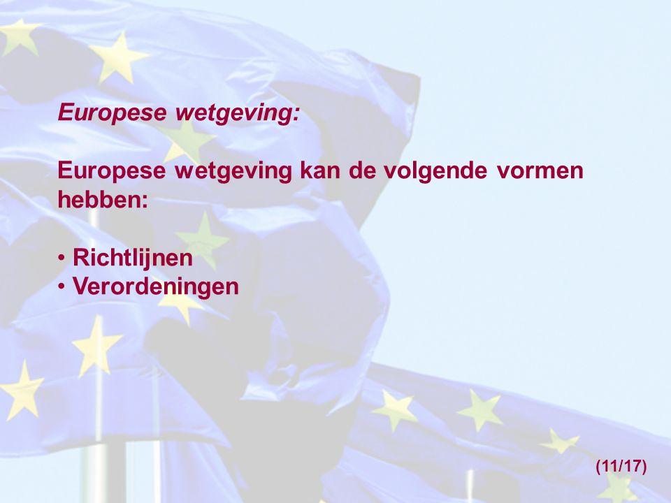 Europese wetgeving kan de volgende vormen hebben: