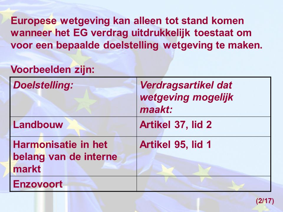 Verdragsartikel dat wetgeving mogelijk maakt: