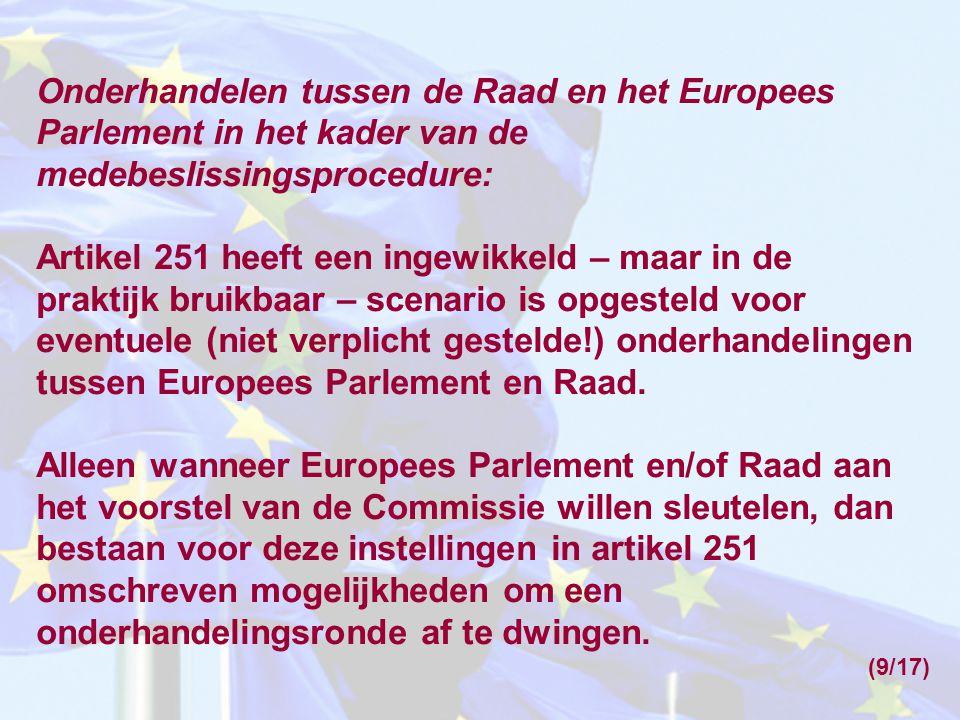 Onderhandelen tussen de Raad en het Europees Parlement in het kader van de medebeslissingsprocedure: