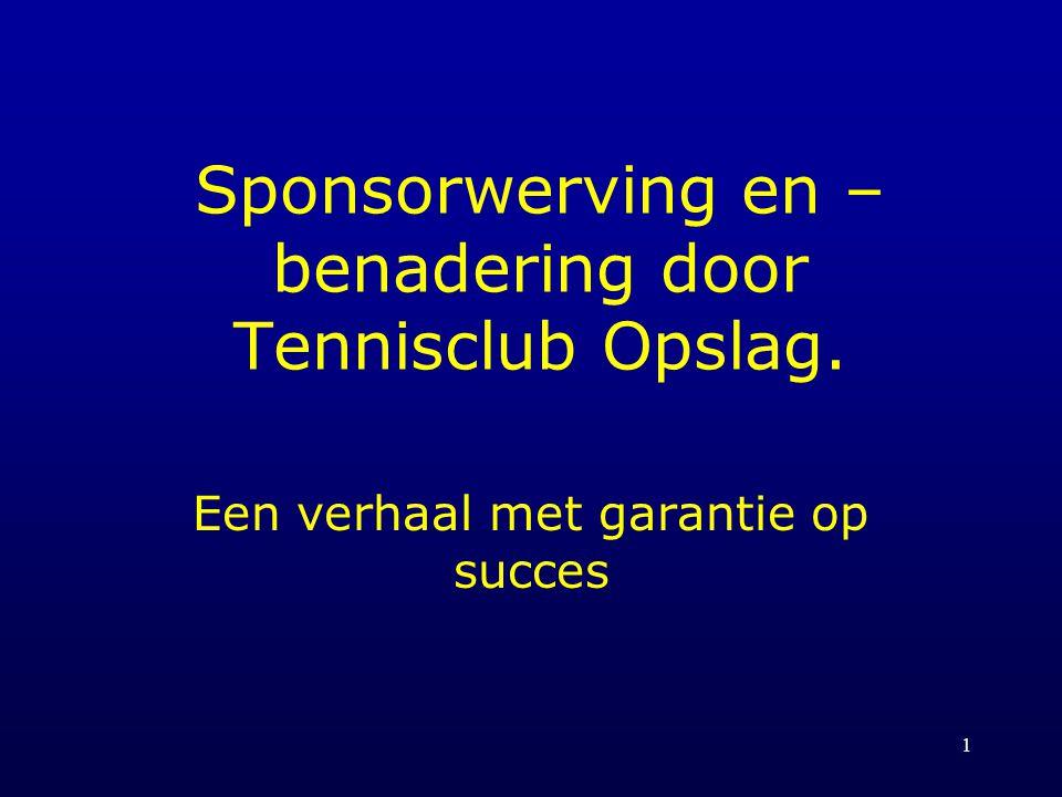 Sponsorwerving en –benadering door Tennisclub Opslag.