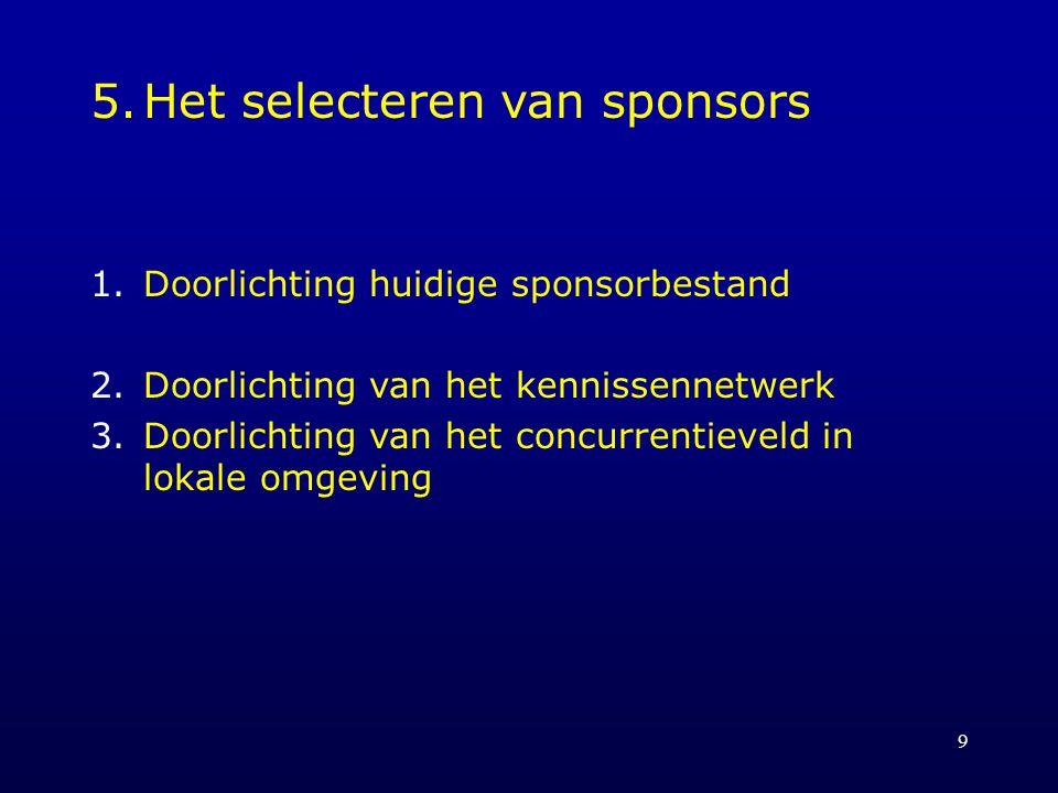 5. Het selecteren van sponsors