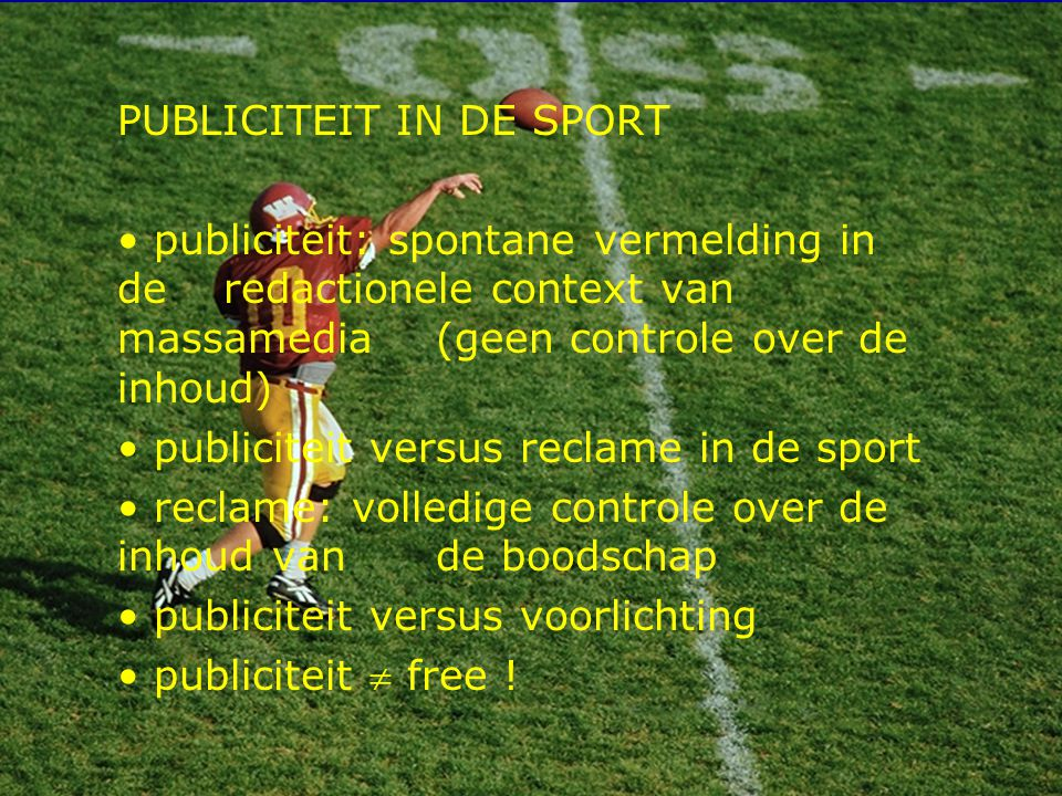 PUBLICITEIT IN DE SPORT