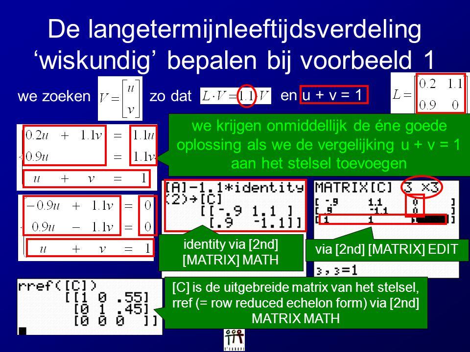 De langetermijnleeftijdsverdeling 'wiskundig' bepalen bij voorbeeld 1