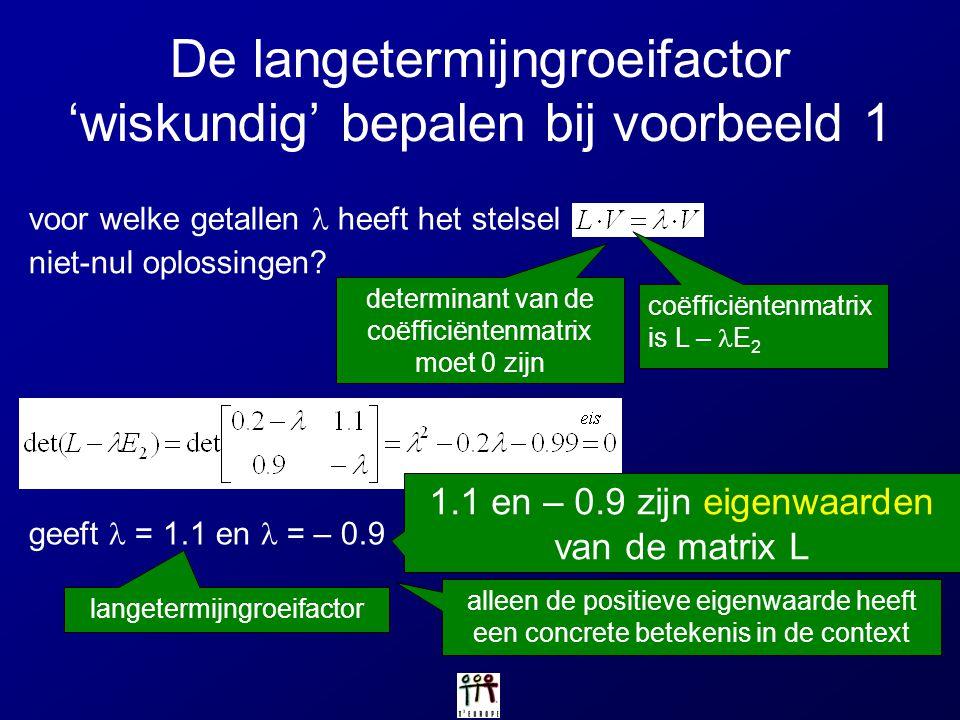 De langetermijngroeifactor 'wiskundig' bepalen bij voorbeeld 1