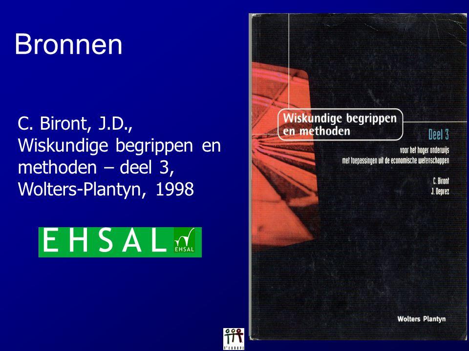 Bronnen C. Biront, J.D., Wiskundige begrippen en methoden – deel 3, Wolters-Plantyn, 1998