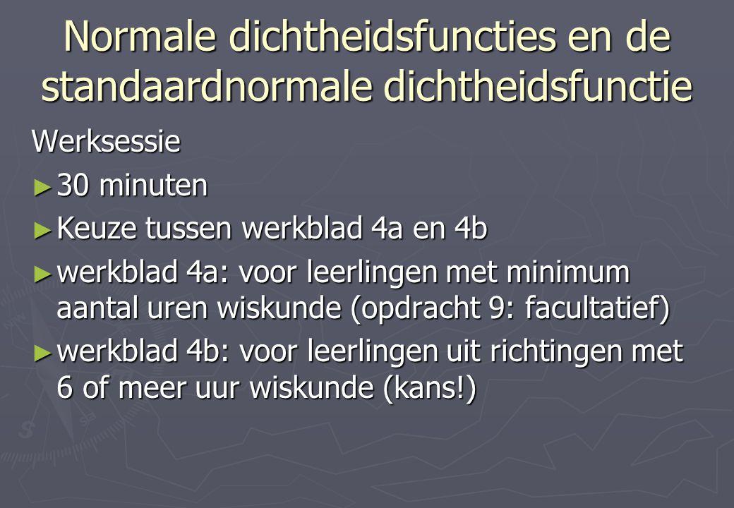 Normale dichtheidsfuncties en de standaardnormale dichtheidsfunctie