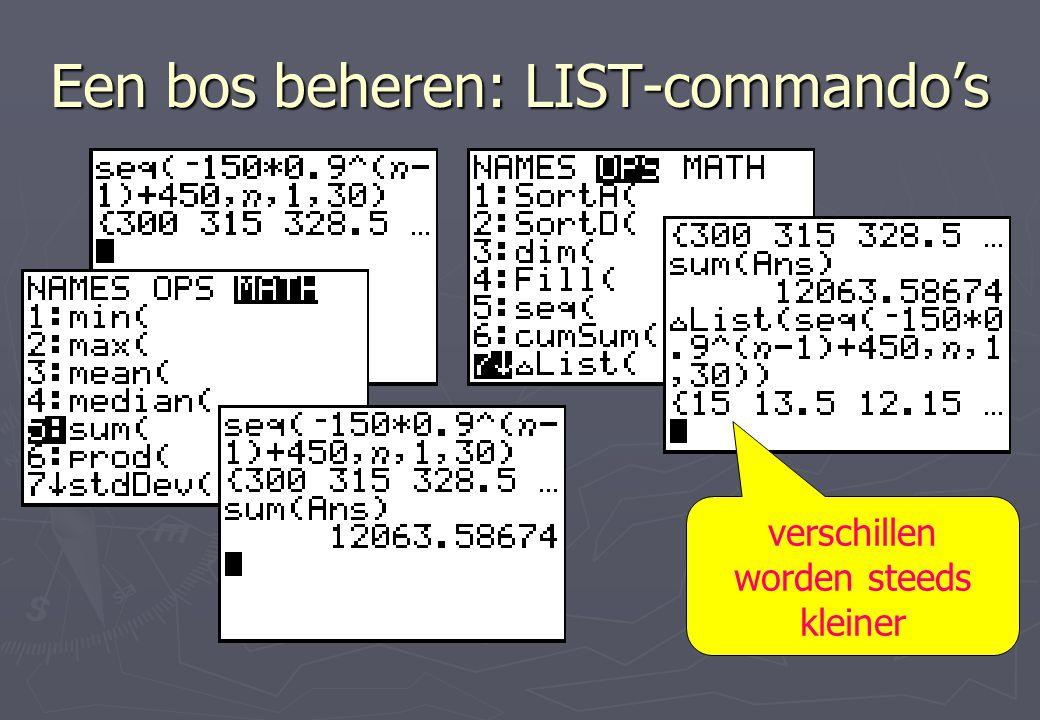 Een bos beheren: LIST-commando's